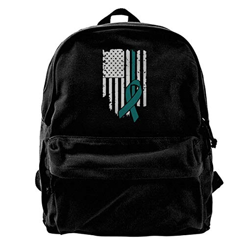 Bag USA Flag Ovarian Cancer Awareness Canvas Backpack Shoulder Bags Women Gift Men Birthday School Unique Casual Book Daypack Print Lightweight Travel Backpack Cute Laptop Backpack