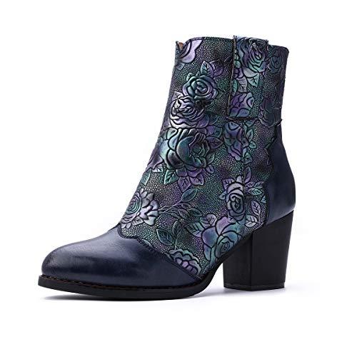 Gracosy Bottines Cuir Femmes Talons, Chaussures de Ville Hiver à Talons Confortable Bottes Santiags Habillé Zip Boots Originales Bohème Colorées 2019, Bleu, 38 EU