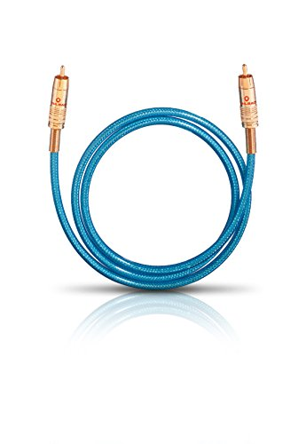 Oehlbach NF 113 DI 100 - Digitales Audio-Cinchkabel - Hochwertiges S/PDIF Koaxialkabel, Mehrfach Schirmung, 75 Ohm - 1m - blau