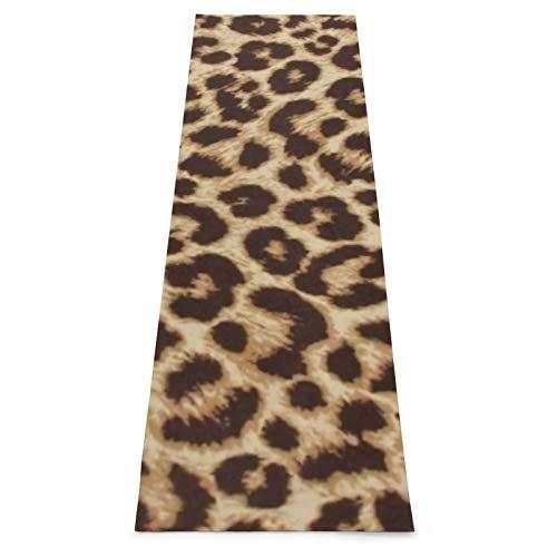 Esterilla de yoga de gimnasia con estampado de leopardo lumbar con correa de transporte, antideslizante, ideal para principiantes, yoga, fitness, pilates y gimnasia, 180 x 61 x 0,45 cm