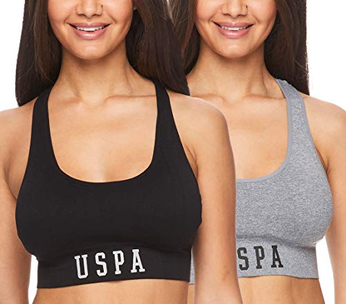 U.S. Polo Assn. 2 Pack Womens Racerback Sports Bra Tagless Seamless Exercise Bra Heather Grey/Black Medium