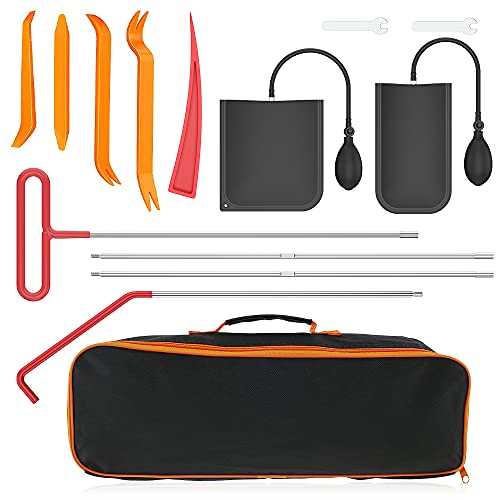 Welpettie 14pcs Car Tool Kit Professional Emergency Car Kit Tool Sets with Air Wedge Pump Long Reach Grabber Non-marring Wedges Trim Removal Tool Mini Wrench for Automotive Truck Vehicles