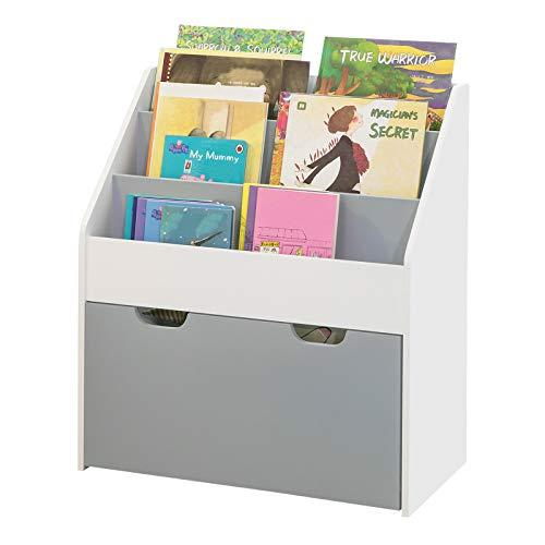SoBuy KMB17-HG Boekenrek Opbergvak voor Kinderen Kinderboekenkast Kinderplank met 3 Opbergvakken en Uitneembare Speelgoedkist Wit/Grijs