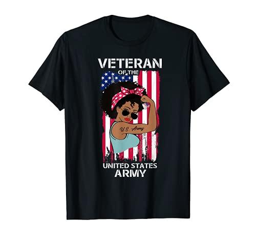 Camisa femenina veterana del ejército afroamericano americano, Melanin US Army Camiseta