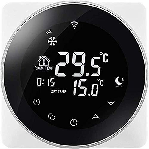 Beok TGR87WIFI-EP Termostato Rotondo Programmabile Rotondo Ogni Settimana Con Touch Screen 16A, Colore Bianco, 220,00 V (Nero)
