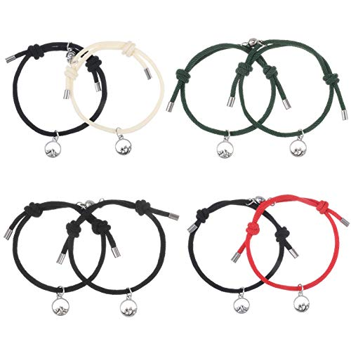 Veraing 8Pcs Couples Magnetic Bracelet, Couple Rope Braided Bracelets, Vows of Eternal Love Bracelet, Adjustable Friendship Bracelets for Festival Birthday Gift