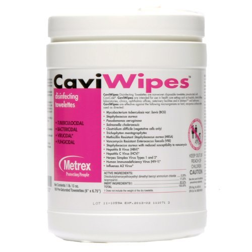 Surface Disinfectant CaviWipes - Item Number 13-1100CS - 160 Count - 12 Canisters / Case