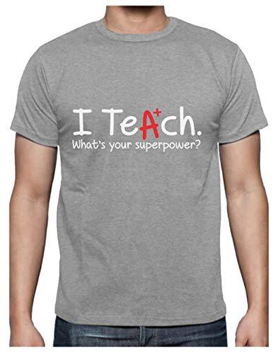 Green Turtle T-Shirts Camiseta para Hombre - Regalo para Profesor - I Teach Whats Your Superpower? Medium Gris