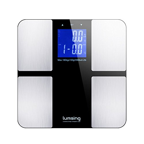 Body Weight Scale, Lumsing Digital Body Fat Scale Health Monitor Measures Weight, Body Fat, BMI, Water, Muscle and Bone Mass,400 lbs Capacity (Silver)