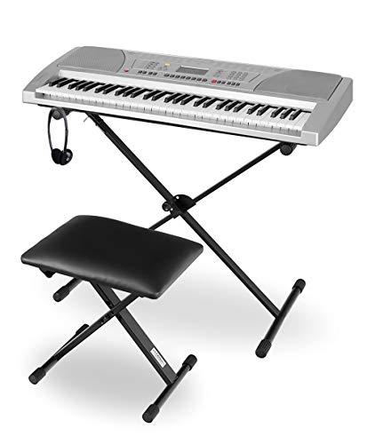 Funkey Super Kit 61 Tasten Keyboard Set - Einsteiger Keyboard mit 100 Sounds & Rhyhmen - Inklusive Stativ, Sitzbank und Kopfhörer - Silber