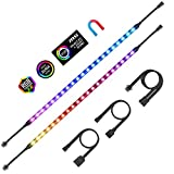PC Addressable RGB LED Strip Lights Aclorol Magnetic LED Light Strip for PC Case DIY Lighting 5V 3-pin ARGB Headers 14in 2PCS 42 LEDs Compatible with ASUS Aura Gigabyte Fusion MSI Mystic Motherboard