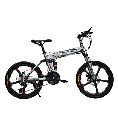 Honestyivan 20 Inch Mountain Bike, Mini Folding Portable 21 Speed Variable Speed Road Bicycle Full Suspension MTB Bikes with Dual Disc Brakes, for Office Worker Students Women and Men