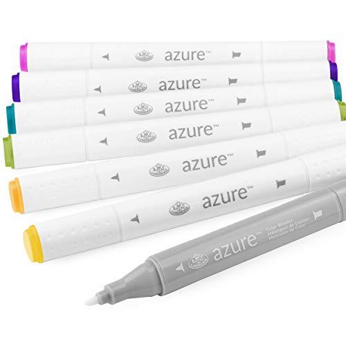 Royal en Langnickel - Azure Artist Markers - Dual Tip - 5 Kleuren + Blender - Hue Set van 6