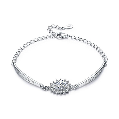 LDUDU Bracciale per Donna con stilliform zirconia Femminile Argento S925 regalo per San Valentino Compleanno, regolabile 13 - 19cm
