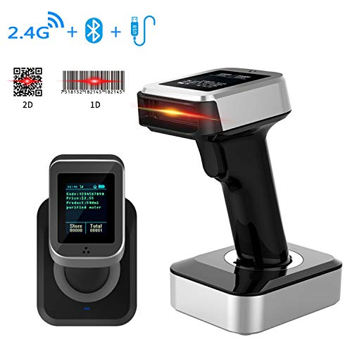 Bluetooth Wireless Barcode Scanner, Symcode 1D 2D USB Handheld Bar Code Reader Laser Cordless Automatic Bar Code Scanner and Collector Portable Data Terminal Inventory Device with TFT Color LCD Screen 3d barcode scanner