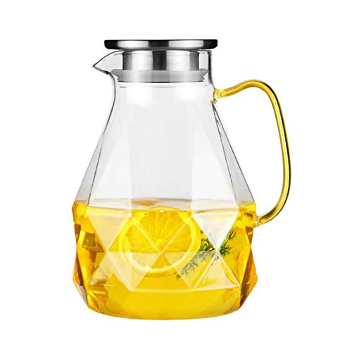Glass Pitcher with Lid for Hot/Cold Drinks