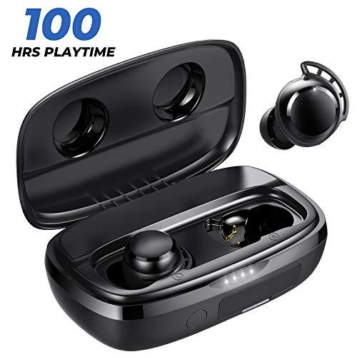 Tribit FlyBuds 3 Auricolari wireless - 100 H Playtime 2600 mAh Custodia di ricarica IPX7 Impermeabile USB-C Touch Control Auricolari Bluetooth 5.0 Bassi profondi - Veri auricolari wireless con microfo
