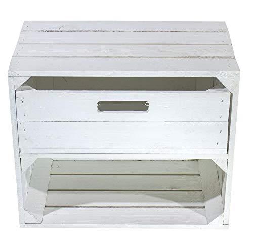Kontorei® neues weißes/Shabby Chic Wandregal mit Schublade 50cm x 40cm x 30cm 1er Set Regalkiste Obstkisten/Weinkisten Holzkiste Regal
