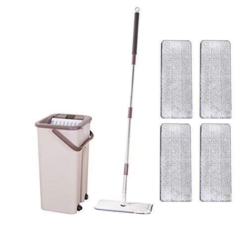 Gebuter Mop-Eimer System für die Bodenreinigung 2-in-1-Waschgang mit Flachfasermop-Pads