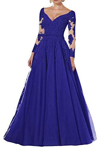 Vintage Abendkleider Lang Spitzen Ballkleider Brautmutterkleider A-Linie Hochzeitskleid Langarm Maxikleider Königsblau 52