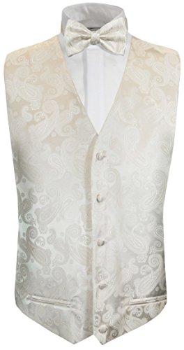 Paul Malone Hochzeitsweste + Fliege Ivory Elfenbein Paisley - Hochzeit Herren Weste Gr. 50 S
