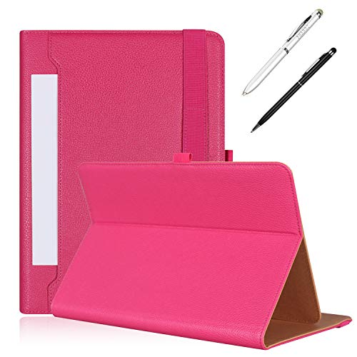 PHARRI Tablet Cases, 10 inch Tablet Case for 9 /10 /10.1/10.5/10.9 /11 inch Universal Tablet Case, Stand Folio Case Protective Cover with Multiple Viewing Angles, and Free Bonus Stylus Pen -Magenta