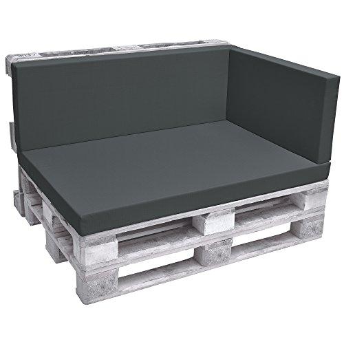 Beautissu Palettenkissen Premium Seitenkissen 70x40x8 cm – ECO Pure Seitenkissen für Europaletten Palettenmöbel - Palettenpolster in Graphitgrau