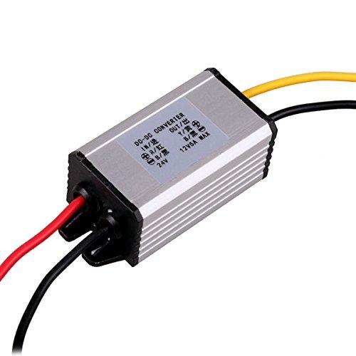 Regulador convertidor reductor automático de 24 V a CC 12 V, adaptador de inversor de corriente, entrada de 18 V a 32 V para vehículo, barco, camión, furgoneta (5 A / 60 W) por HitCar