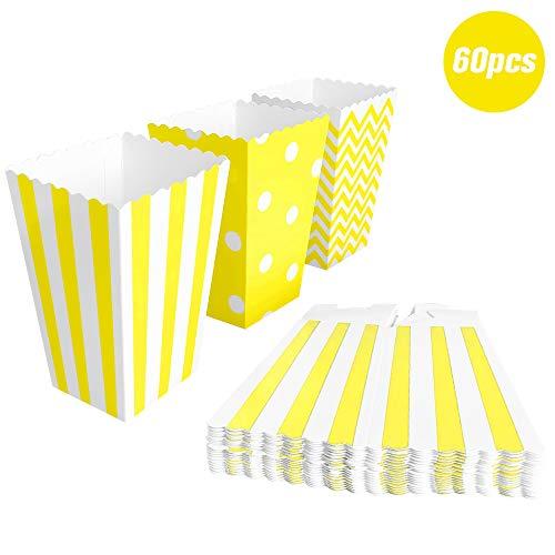BangShou 60pcs Cajas de Palomitas Cartón Caramelo Contenedor Cine Pequeñas Cajas de Palomitas de Maíz 12 x 7.5cm (Amarillo)