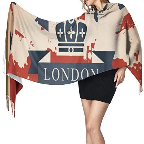 Womens Large Soft Cashmere-like Pashmina Shawls Wraps Scarf Vintage Travel Suitcase With British Flag London Ribbon And Crown Image Winter Warm Tassel Shawl Scarves