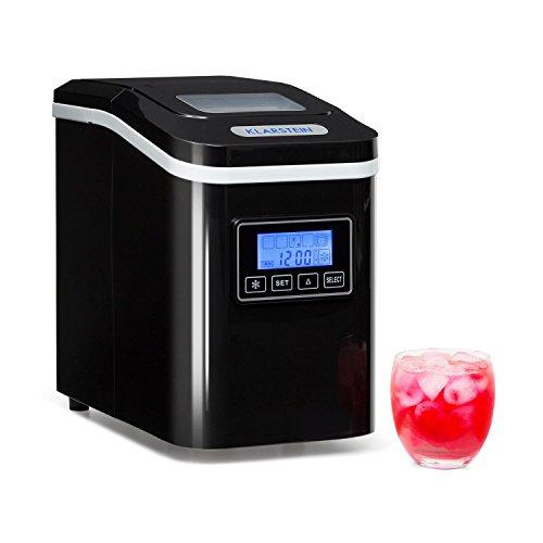 Klarstein Lannister Eiswürfelbereiter - Eiswürfelmaschine, Ice Maker, 10 kg / 24 h, 3 Würfelgrößen, Zubereitung in 8-10 min, 1,1 Liter Wassertank, Timer, LCD-Display, Sichtfenster, schwarz
