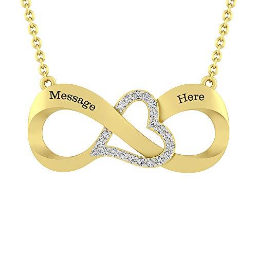 Silvercartvila Couple's Engravable Zijwaarts Oneindigheid Met Hart Ketting (2 Namen) D/VVS1 Diamant 14ct Geel Verguld