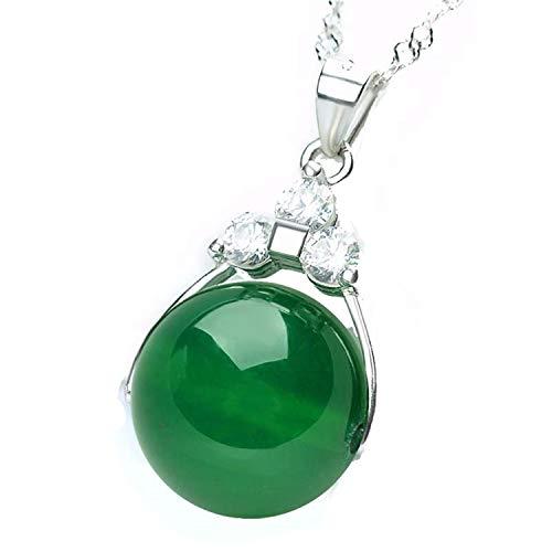 Collar plata colgante piedra jade verde redonda, mujer