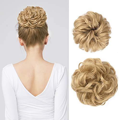 Messy Bun Hair Piece, REECHO 2PCS Tousled Updo Hair Bun Extensions Hair Scrunchies Curly Wavy Ponytail Hairpieces Hair Accessories for Women Girls - Light Golden Blonde