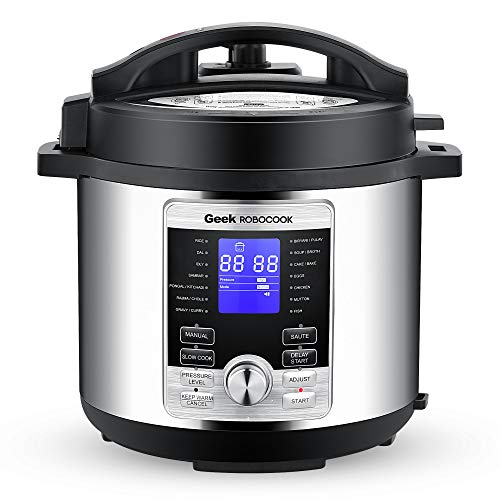 Geek Robocook Digi 6L Smart Electric Pressure Cooker with 11 in 1 Function, Stainless Steel