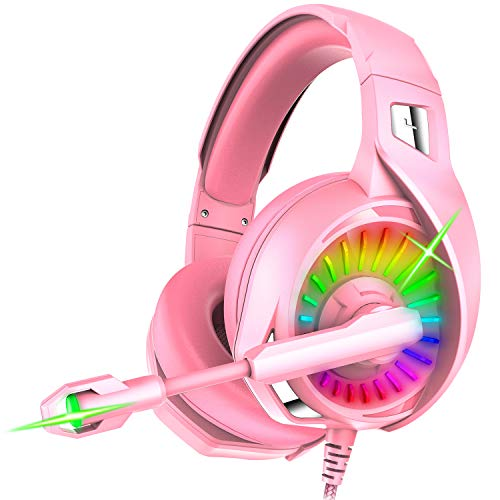 Nivava Gaming Headset for PS4, Xbox One, PC Headphones with Microphone LED Light Mic for Nintendo Switch Playstation Computer, K7 (Pink)