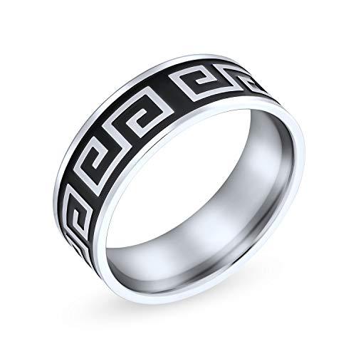 Bling Jewelry Uomini Greca Geometrica Chiave Piatta Nera Fede Nuziale Anello per Uomini Donne Nero Argento Tone in Acciaio Inox 8 Mm