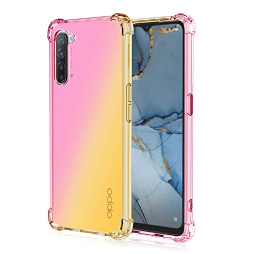 HAOYE Cover for Realme 6 Cover, Color Gradient TPU Case, [Reinforce with Four Corners] Transparent Soft Silicone Case Ultra Thin TPU Case (Pink / Gold)