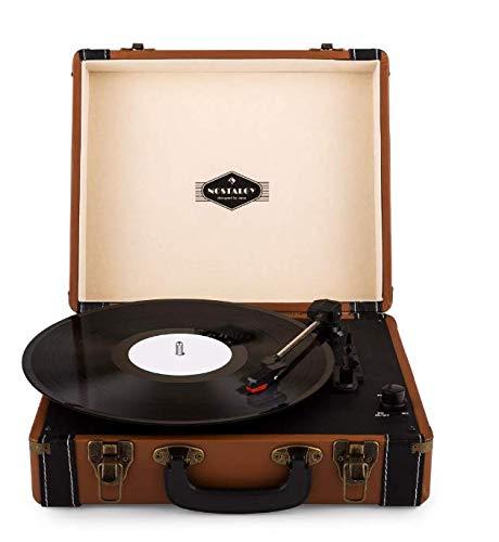 Auna Jerry Lee - Tocadiscos Vintage, Altavoces estéreo, Accionamiento por Correa, 3...