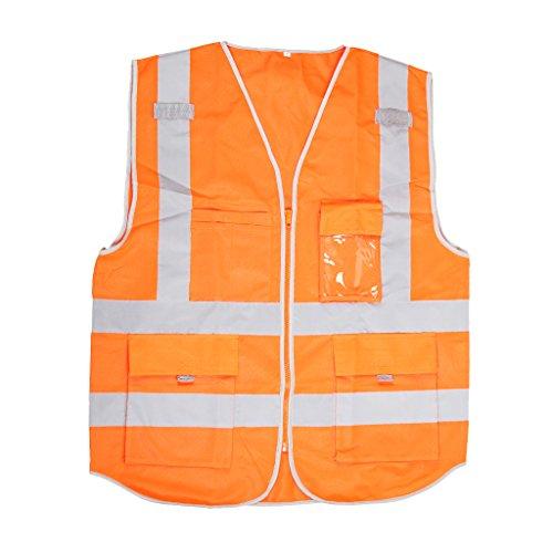 SDENSHI Chaleco de Seguridad Ajustable de Visibilidad con Cremallera Chaquetas de Cinta Reflectante Chalecos - Naranja