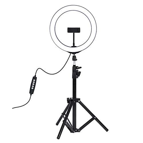 LED-ringlicht, draagbare lichtgewicht metalen mobiele telefoon Live-uitzendfotografie LED-ringvullicht met statief, LED-invullicht