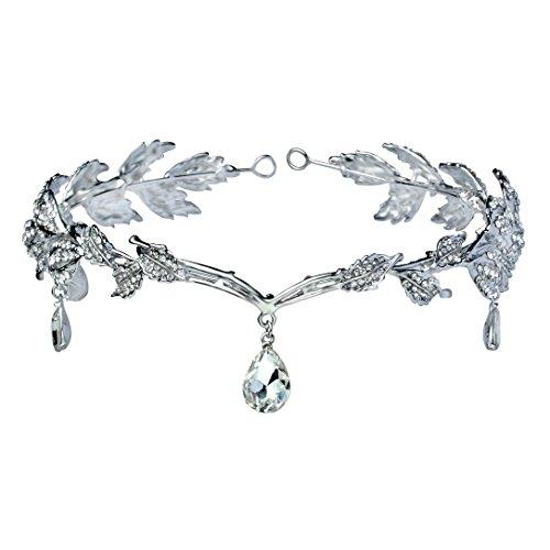 BABEYOND Elegant Rhinestone Leaf Wedding Bridal Bridesmaid Forehead Band Dangle Rhinestone Bridal Tiara Crown with Gift Box , Silver, One size