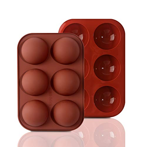 Inn Diary 2 Packs Medium Semi Sphere Silicone Mold, Half Sphere Silicone Baking Molds for Making Chocolate, Cake, Jelly, Dome Mousse
