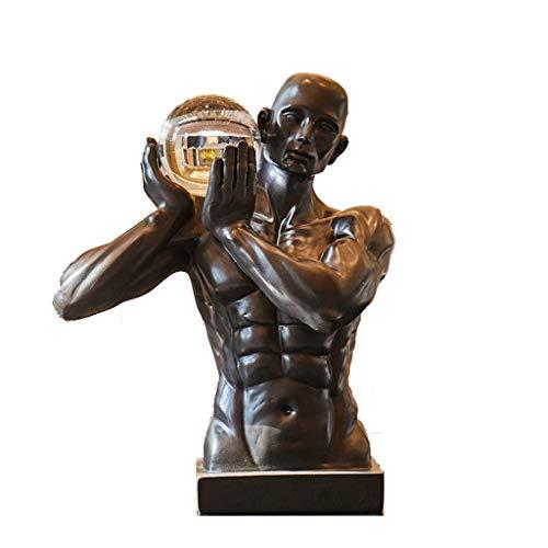 YTRED Estatuas de Resina Figurita Escultura Holding Crystal Adornos de Resina de Artware Oficina Estante for Libros for la Sala Principal de Escritorio Accesorios Decoración Decoración