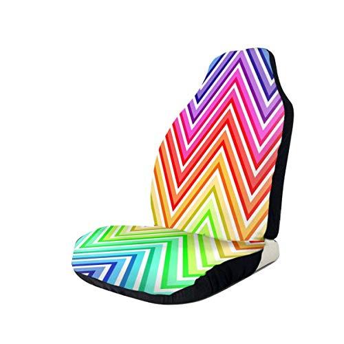 DISADI Rainbow Dot Stripes Funda de Asiento de Coche Duradera, Compatible con la mayoría de los Accesorios de Interior de Coche de Moda, Funda de Asiento (Juego de 2)