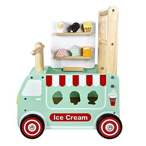 I'm Toy Camión de Helados correpasillo Juguete de Madera multifunción para bebés a Partir de 1 año