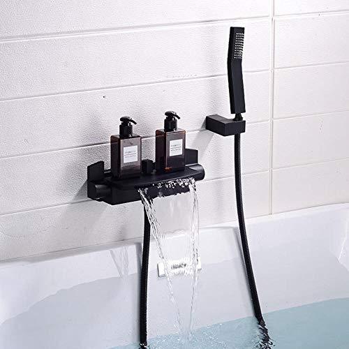Badewannenarmatur Wasserfall mit Brause Wandmontage Messing Einhand Wannenbatterie Duschkopf Wassersparend Armatur Mischbatterie Badewanne mit Duschbrause-Schwarz