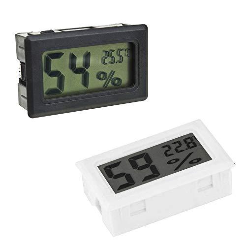 gotyou 2 Piezas Negro Blanco Mini Plaza Termometro Higrometro Digital interior exterior,LCD Probador Termometro Casa,Es adecuado Para Refrigeradores, Cuartos Infantiles, Hogares, Oficinas,Jardines