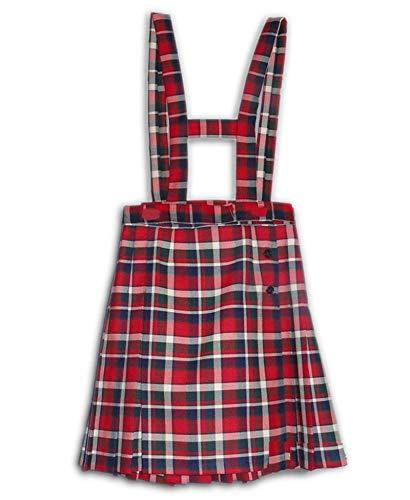 Falda Uniforme Escolar Colegio Cuadro escoces con Pichi y Plisada 3 Botones Cintura Ajustable (4-5 años)