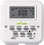 BN-LINK 7 Day Heavy Duty Digital Programmable Dual Outlet Timer - 2 Independently Programmable Grounded Outlets, 8 ON/Off Programs, Heavy Duty Electrical Timer Switch, 3 Prong, 15A/1875W